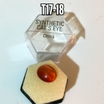 Synthetic Cat's Eye mineral/gemstone specimen in display box (cut)